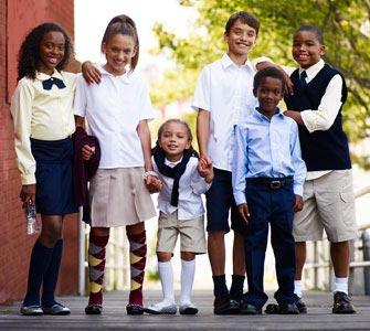 six students in school uniforms