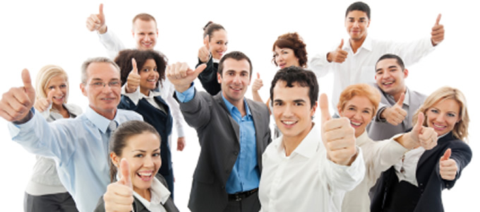 Group of happy customers giving thumbs up